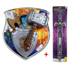 Brinquedo Menino Kit Medieval Com 4 Peças Fg