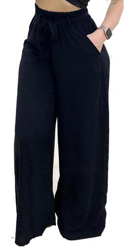 Imagem 1 de 8 de Pantalona De Elástico Tecido Viscose Com Forro E Bolso