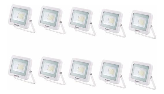 Combo Reflector Led 20w 220v Blanco Exterior X 10 Un Oferta