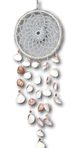 Filtro Dos Sonhos Em Crochê Com Conchas Natural Ref. 1029