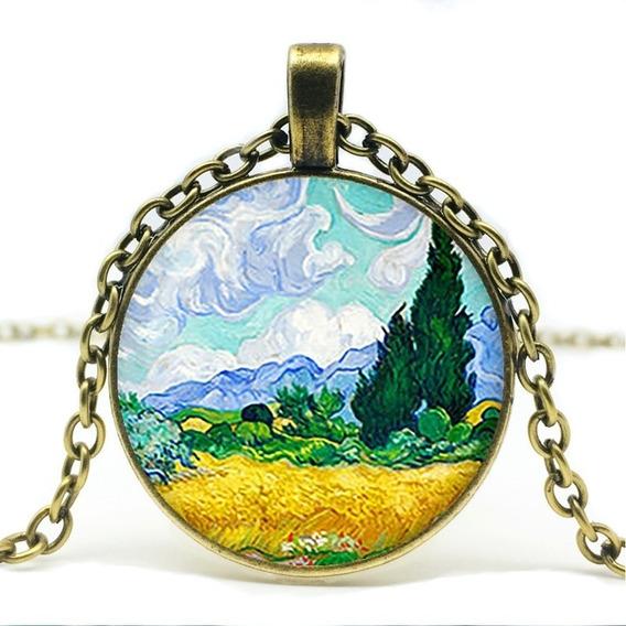 Colar Van Gogh Pingente Arte Pinturas Campotrigo C Cipestre