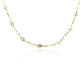 Colar Choker Tiffany Folheado Ouro 18k Cristal
