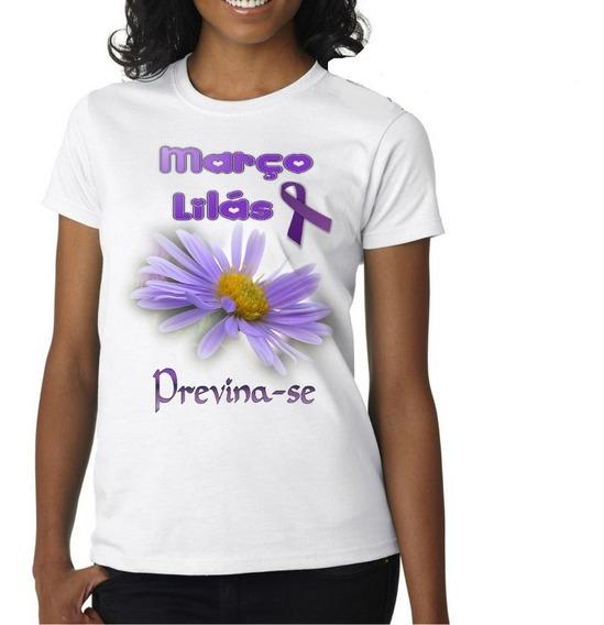 5 Camiseta Personalizada Campanha Março Lilás Cancer Combate