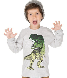 Camiseta Manga Longa Infantil Menino Estampa De Dinossauro