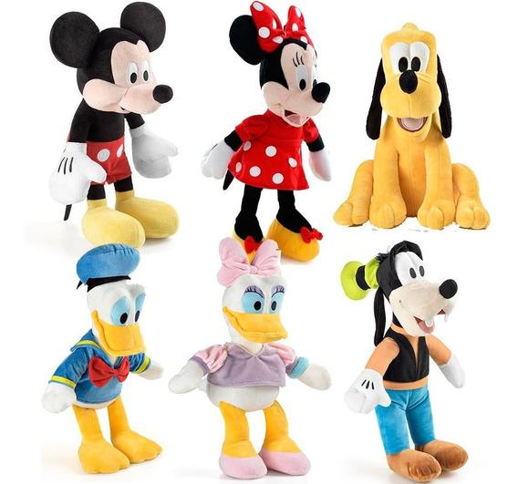Kit 6 Pelucia Turma Mickey Minnie Pateta Pluto Margarida Top