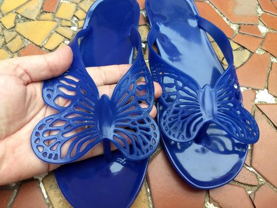 Sandália Borboleta - Rasteira De Plástico - Azul Escuro