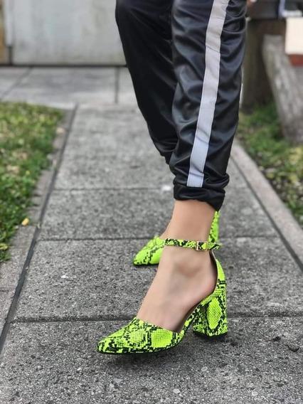 Zapatos Taco Cuadrado Fluo Art 406 Primavera 2020 Chic