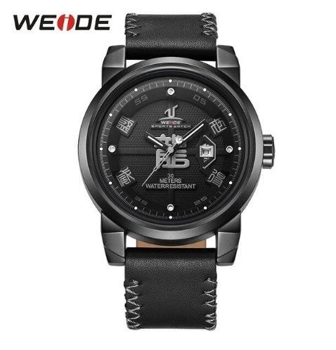 Relógio Preto Esportivo Militar Couro Weide Barato Promoção