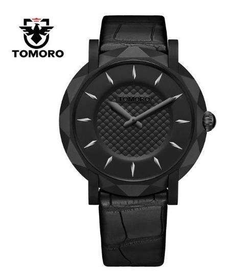 Relógio Preto Masculino Tomoro Analog. Couro Promoção Barato