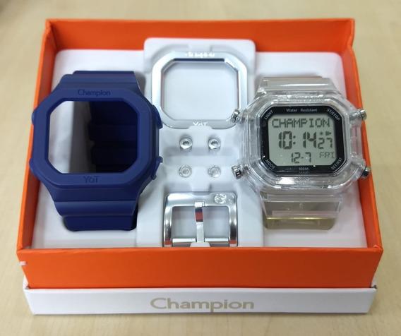 Relógio Champion Yot Cp40180x Original Nf Cx Troca Pulseiras