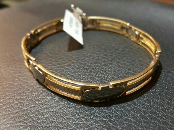 Pulseira Masculina Ouro 18k Pesada - Detalhe Em Ouro Branco
