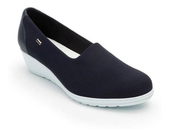 Zapato Dama Mujer Casual Flexi Textil Azul Plataforma