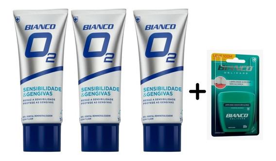 Kit 3 Cremes Dentais Bianco O2 + Fio Dental Bianco Delicare