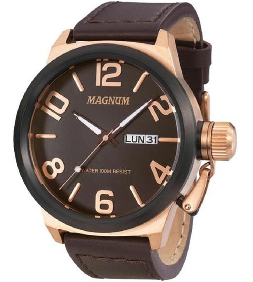 Relógio Masculino Magnum Pulseira Couro Ma33399z