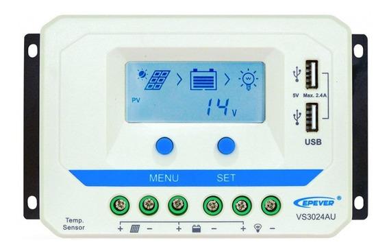 Controlador De Carga Solar Pwm 30a 12v/24v Epever Lcd Usb Automático
