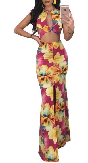 Sexy Vestido Largo Casual Antro Boho Floral Escote 610045