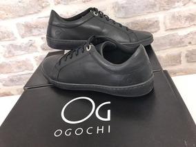 Tenis Casual De Couro Ogochi Original Preto Fosco Slim