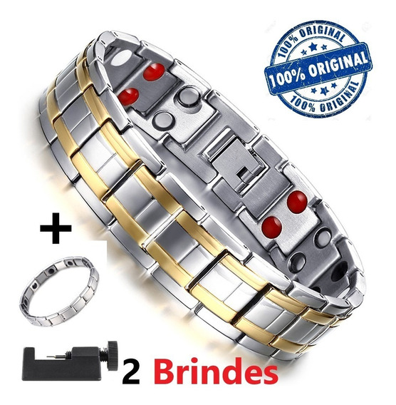 Pulseira Magnética Ion Energética Bracelete Titânio Masculin