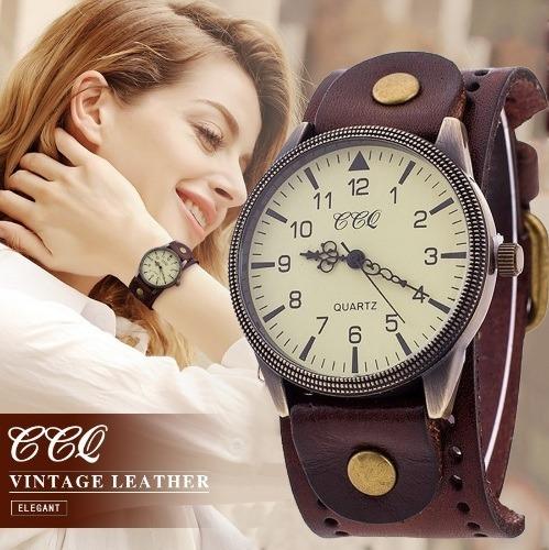 Relógio Ccq Feminino Pulseira Em Couro Masculino Vintage