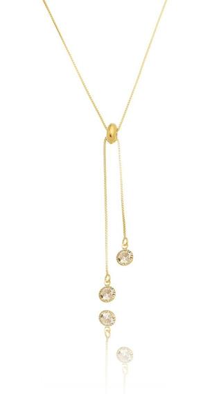 Colar Pendulo Duplo Com Ajuste Gravatinha Banhado Em Ouro 18