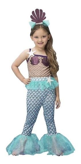 Roupa De Carnaval Sereia Infantil Pequena Sereia Completa