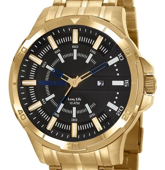 Relógio Masculino Seculus Dourado 20746gpsvda3 Visor Preto