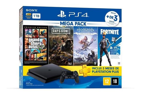 Ps4 Slim 1tb Mega Pack Com 4 Jogos + 3 Meses Psn - Novo