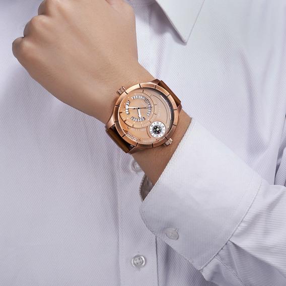 Luxo Dois Tempo Masculino Relógios Calendário Retro Único Gr