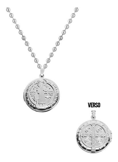 Colar Aço Inox Antialérgico Relicário Medalha São Bento