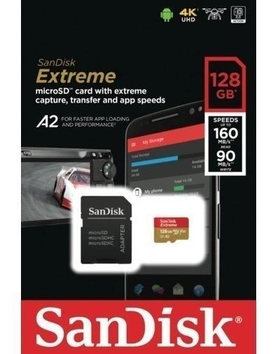 Cartão De Memoria Microsd 128gb Sandisk Extreme U3 160mb 4k Gopro Hero Drone, Samsung Galaxy S9 S8 S7 Motorola Moto G 4k