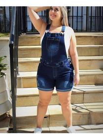 Macacão Macaquinho Jardineira Jeans Feminino Plus Size