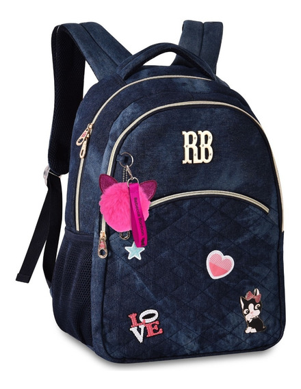 Mochila Feminina Escolar Rebecca Bonbon P/ Notebook Jeans
