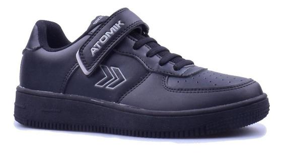 Zapatillas Colegial Atomik Cambridge Velcro Negro