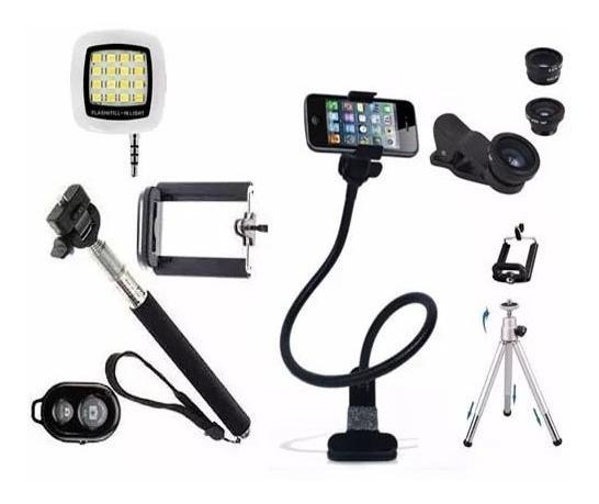 Kit Gravação Foto Video Selfie Mini Tripé Bluetooth Flash