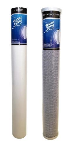 Imagen 1 de 5 de Kit X2 Membrana Slim 20 Pulgadas Sedimentos Y Carbon Bloque