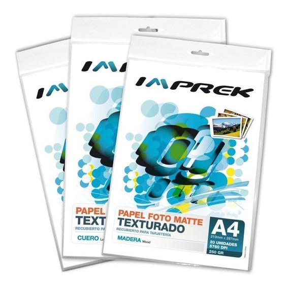 Papel Para Tarjetería Texturado Matte Imprek 250gr X 20h