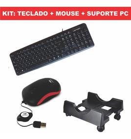 Teclado Usb Para Pc Basico + Mouse Usb + Suporte Pc Promoção