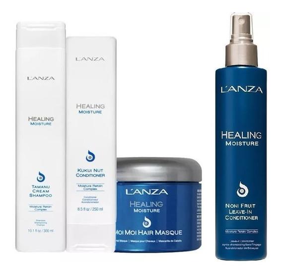 Kit Lanza Healing Moisture Shampoo 250ml + Condicionador 200ml + Máscara 200ml + Leave In 250ml + Brinde