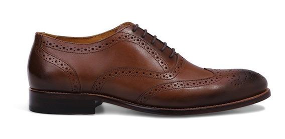 Sapato Social Masculino Oxford Brogue Cacau De Couro Premium