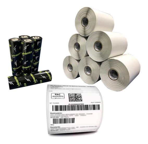 Kit 10 Rolos Etiqueta 10x15 Cm + 5 Ribbons Cera