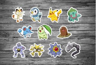 100 Apliques Festa Tags Topper Pokemon M2 3,5 Cm