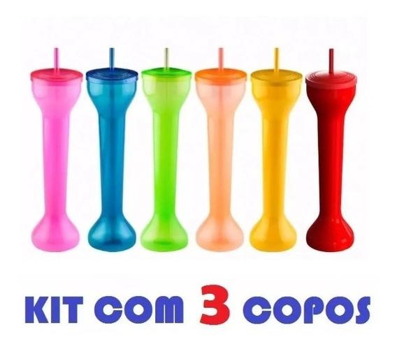Kit 3 Copos Spring Break Metro Yard Cup Festa Grande 700ml