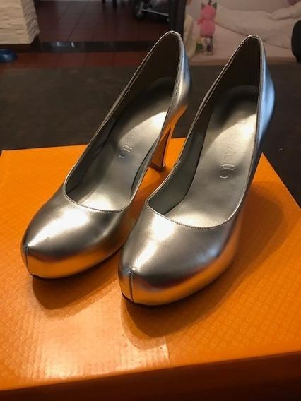 Zapatos De Cuero Fiesta Mujer Plateados Batistella Talle 36