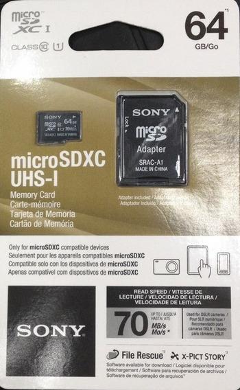 Novo Micro Sd Sony Extreme 64gb 70mb/s 4k Para Drone Go Pró
