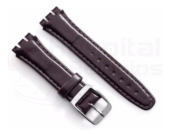 Pulseira Swatch Couro Liso 17mm Marrom Irony Clássico