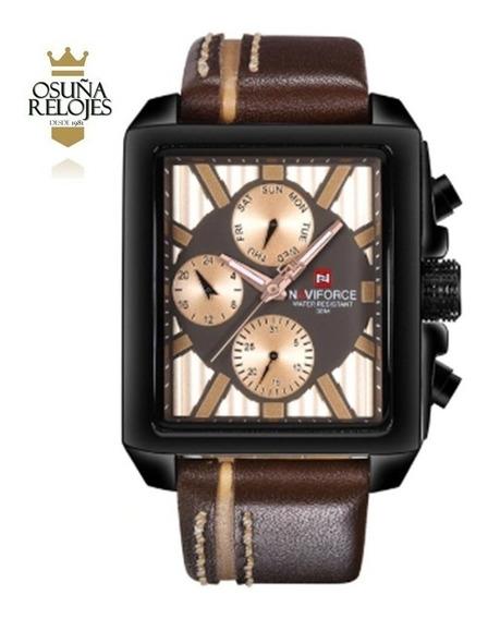 Relógio Masculino Luxo Original Preto Em Couro Naviforce