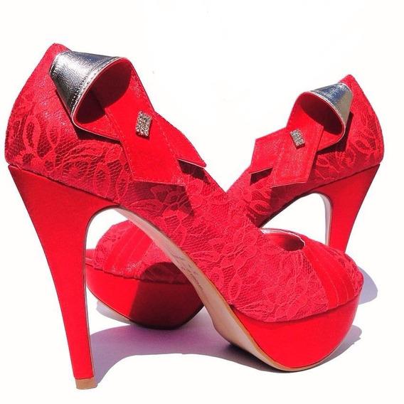 Sapato De Festa Vermelho/cetim