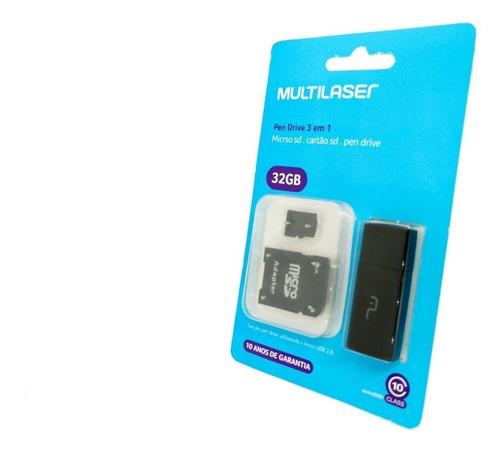 Micro Sd Multilaser 3 Em 1 Classe 10 32gb Pen Drive