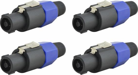 4 Plug Conector Macho Speakon 4 Vias Estilo Neutrik Nfe