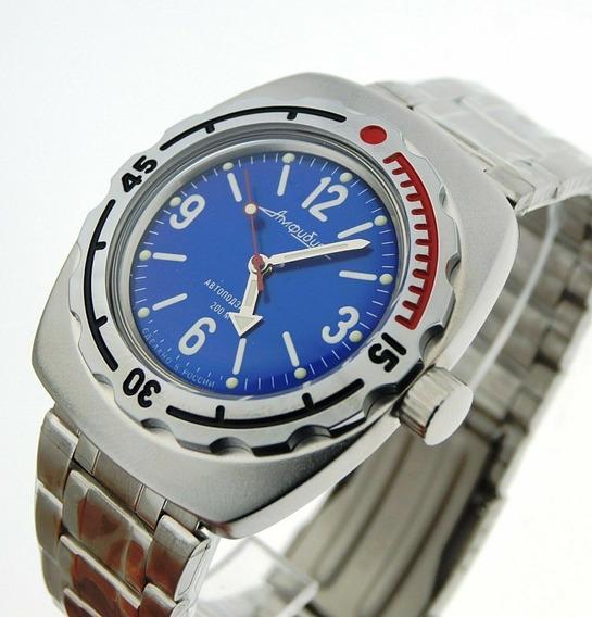 Reloj Vostok Amphibian Buzo Azul Vintage Militar Nuevo